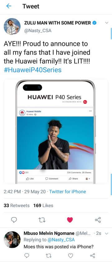 Nasty C joins Huawei as an ambassador but he forgets and tweets using iPhone