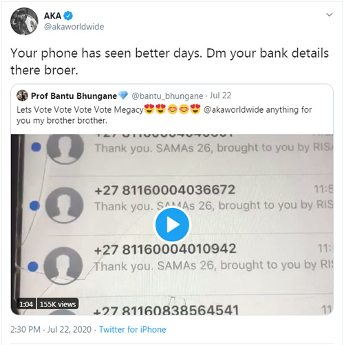 AKA gives a fan money to purchase a new phone
